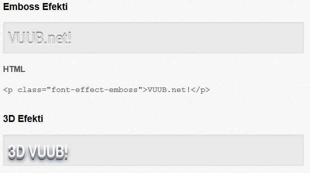 Google Web Font Efektleri