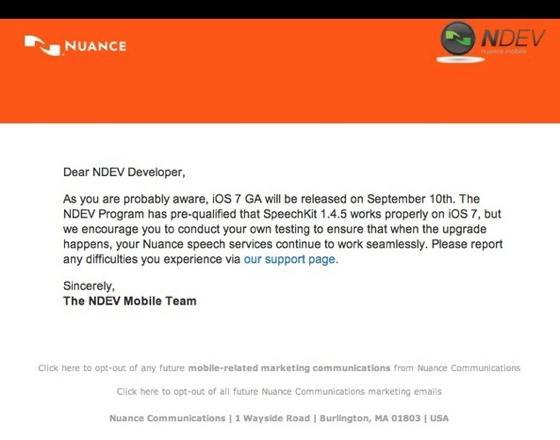 iOS 7 - Nuance Developer Mail