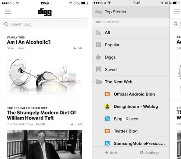 Digg - iPhone Uygulaması