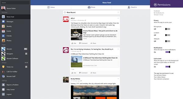 Windows 8 için Facebook Uygulaması