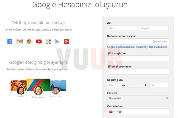 Google Hesap Yaratma Ekranı