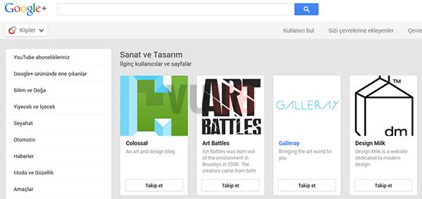 Google+ Kişiler Ekranı