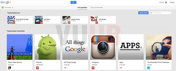 Google+ Topluluklar Ekranı
