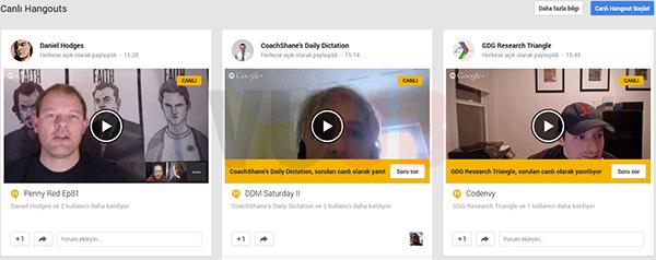 Google+ Canlı Hangouts Ekranı