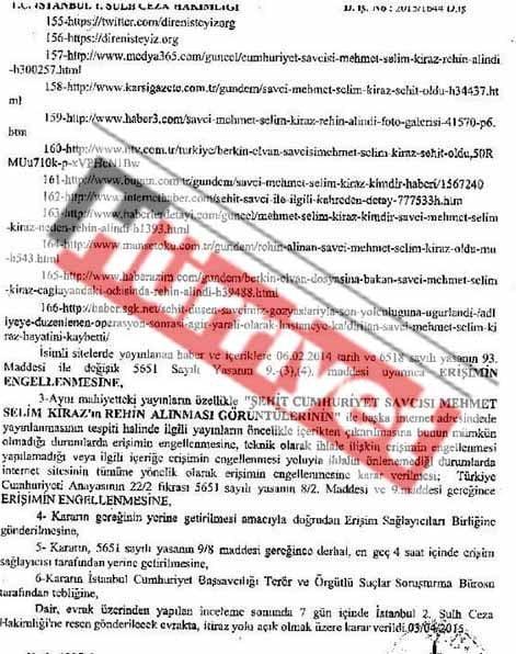 Erişim Yasağı ile ilgili Mahkeme Kararı